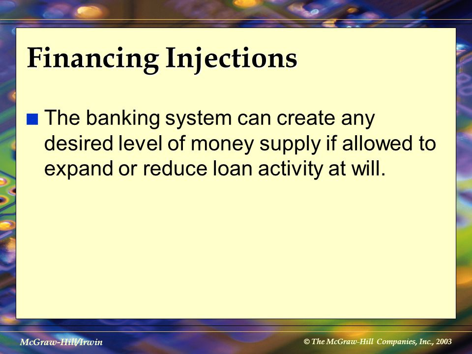 © The McGraw-Hill Companies, Inc., 2003 McGraw-Hill/Irwin Financing Injections n The banking system can create any desired level of money supply if al