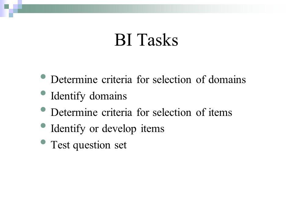 BI Tasks Determine criteria for selection of domains Identify domains Determine criteria for selection of items Identify or develop items Test question set