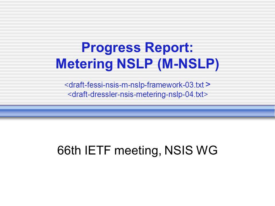 Progress Report: Metering NSLP (M-NSLP) 66th IETF meeting, NSIS WG