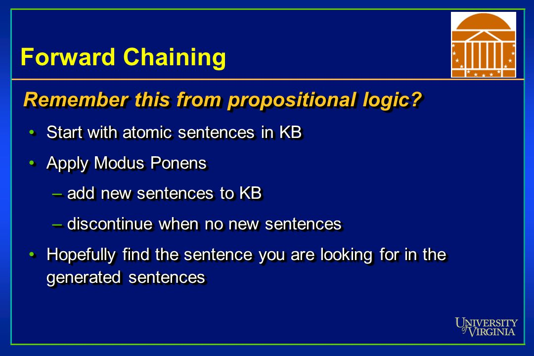 Forward Chaining Remember this from propositional logic? Start with atomic sentences in KBStart with atomic sentences in KB Apply Modus PonensApply Mo