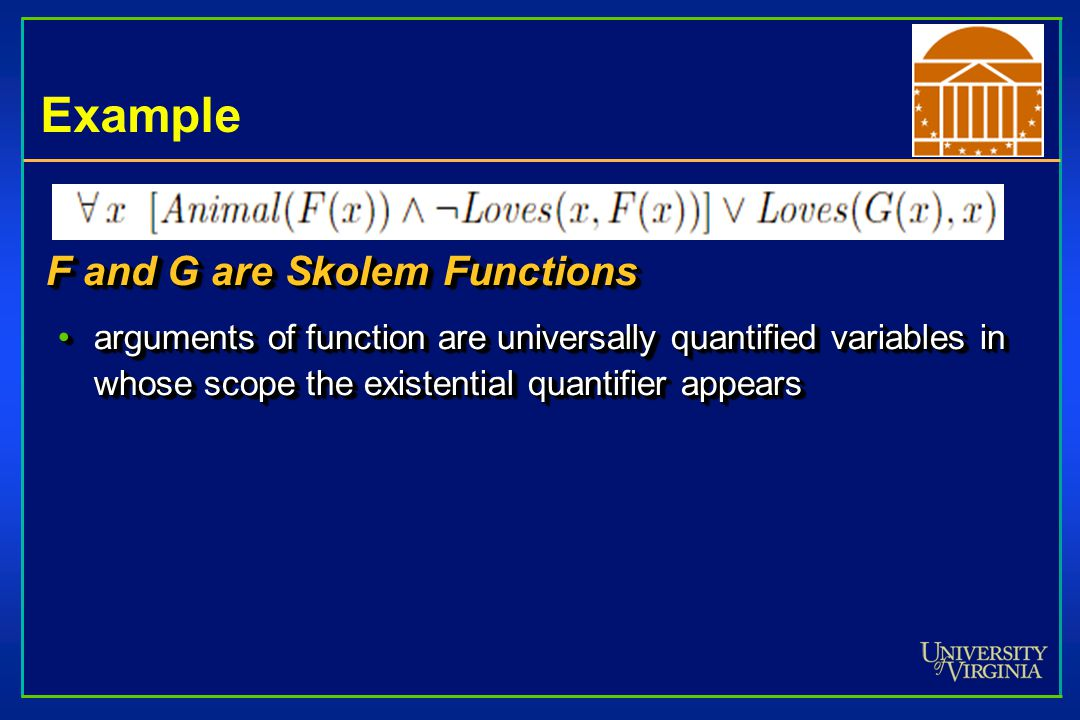 F and G are Skolem Functions arguments of function are universally quantified variables in whose scope the existential quantifier appearsarguments of