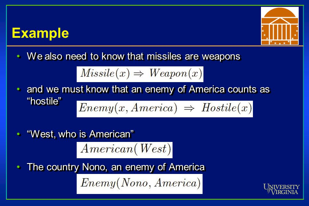 Example We also need to know that missiles are weaponsWe also need to know that missiles are weapons and we must know that an enemy of America counts