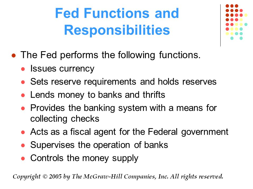 Fed Functions and Responsibilities The Fed performs the following functions.