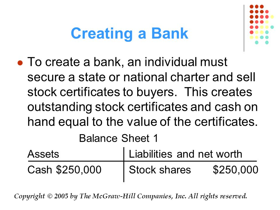 Creating a Bank To create a bank, an individual must secure a state or national charter and sell stock certificates to buyers.
