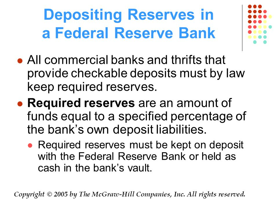 Depositing Reserves in a Federal Reserve Bank All commercial banks and thrifts that provide checkable deposits must by law keep required reserves.