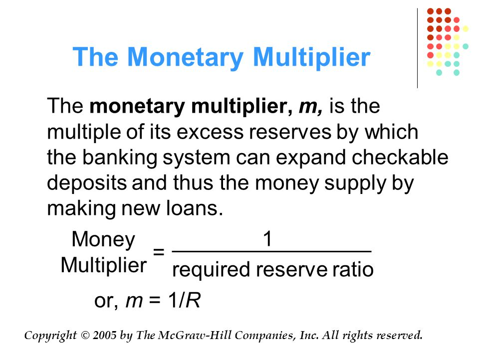 The Monetary Multiplier The monetary multiplier, m, is the multiple of its excess reserves by which the banking system can expand checkable deposits and thus the money supply by making new loans.