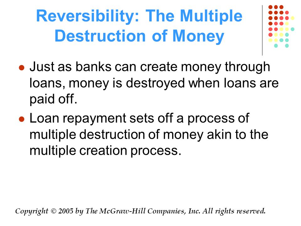 Reversibility: The Multiple Destruction of Money Just as banks can create money through loans, money is destroyed when loans are paid off.