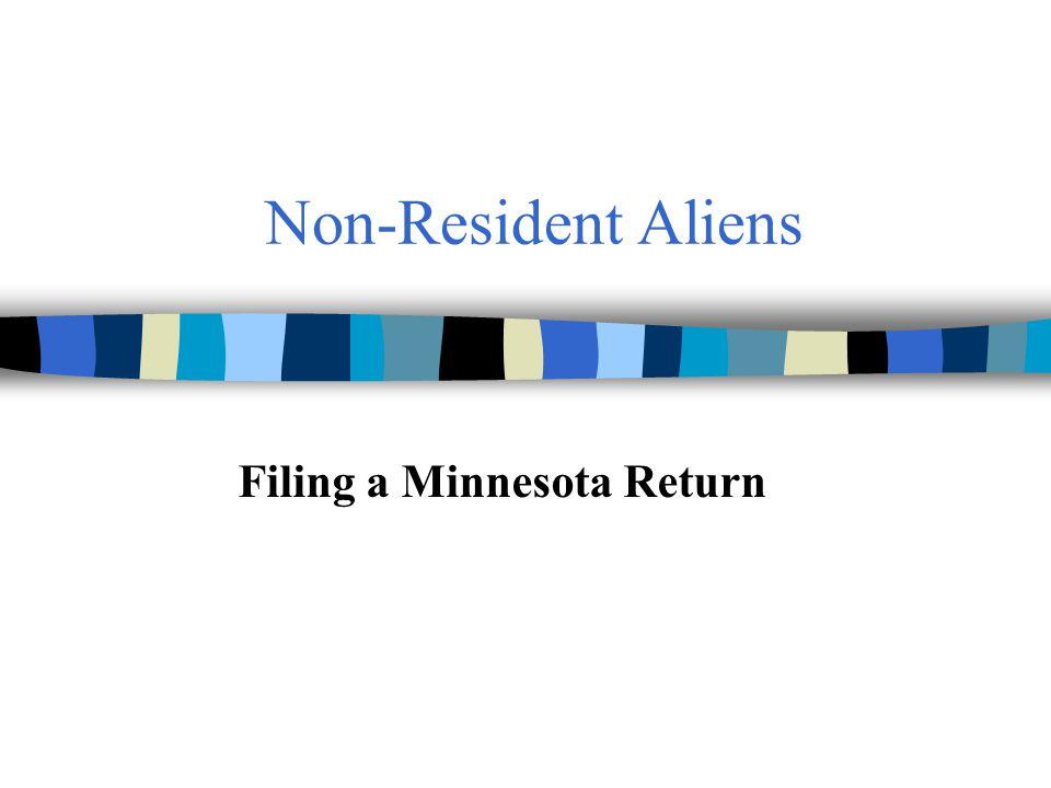 Non-Resident Aliens Filing a Minnesota Return