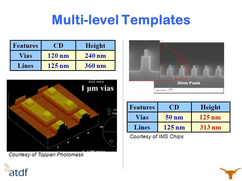 Multi-level Templates Vias Lines 240 nm 360 nm 120 nm 125 nm FeaturesHeightCD 1 μm vias Vias Lines 125 nm 313 nm 50 nm 125 nm FeaturesHeightCD Courtes