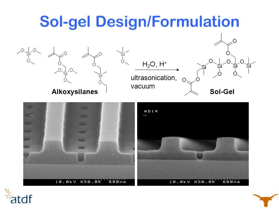 Sol-gel Design/Formulation Sol-Gel H 2 O, H + Alkoxysilanes ultrasonication, vacuum