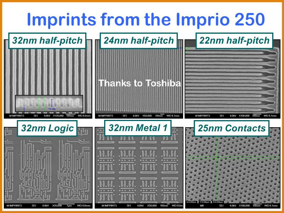 Imprints from the Imprio 250 32nm Logic 32nm half-pitch24nm half-pitch 32nm Metal 1 25nm Contacts 22nm half-pitch Thanks to Toshiba