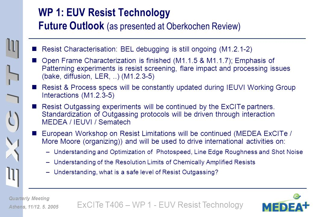 ExCITe T406 – WP 1 - EUV Resist Technology Quarterly Meeting Athens, 11/12.