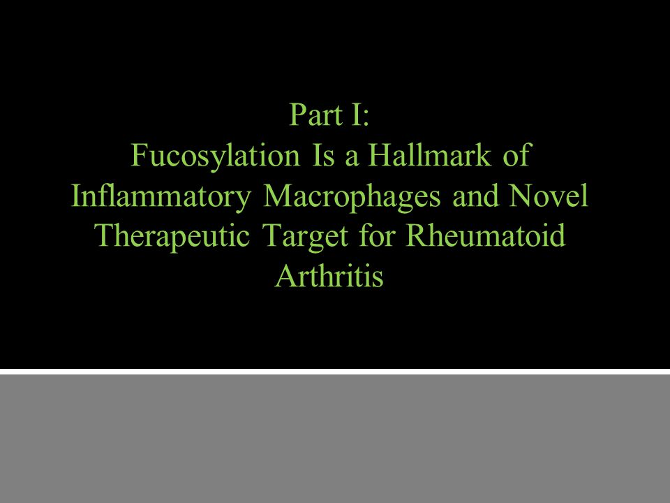 Part I: Fucosylation Is a Hallmark of Inflammatory Macrophages and Novel Therapeutic Target for Rheumatoid Arthritis