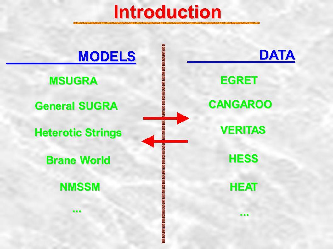 Introduction MODELS MSUGRA General SUGRA Heterotic Strings Brane World NMSSM...
