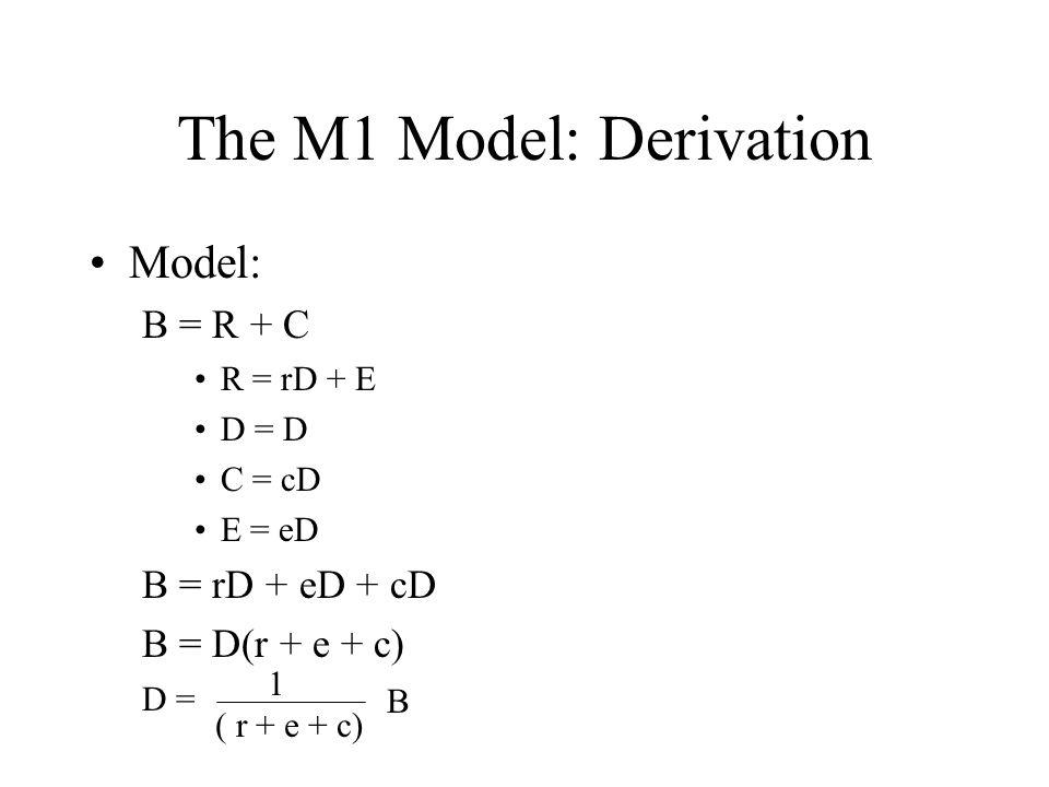 The M1 Model: Derivation Model: B = R + C R = rD + E D = D C = cD E = eD B = rD + eD + cD B = D(r + e + c) 1 ( r + e + c) B D =