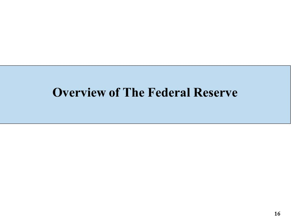 Overview of The Federal Reserve 16