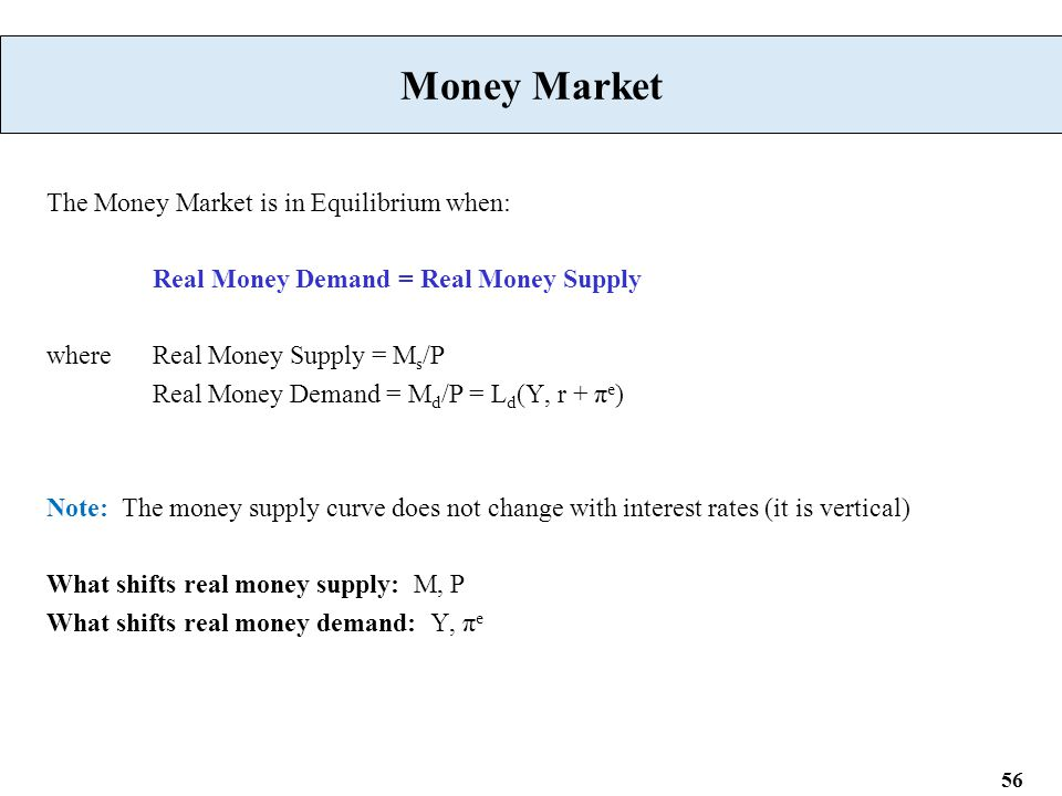 56 Money Market The Money Market is in Equilibrium when: Real Money Demand = Real Money Supply where Real Money Supply = M s /P Real Money Demand = M