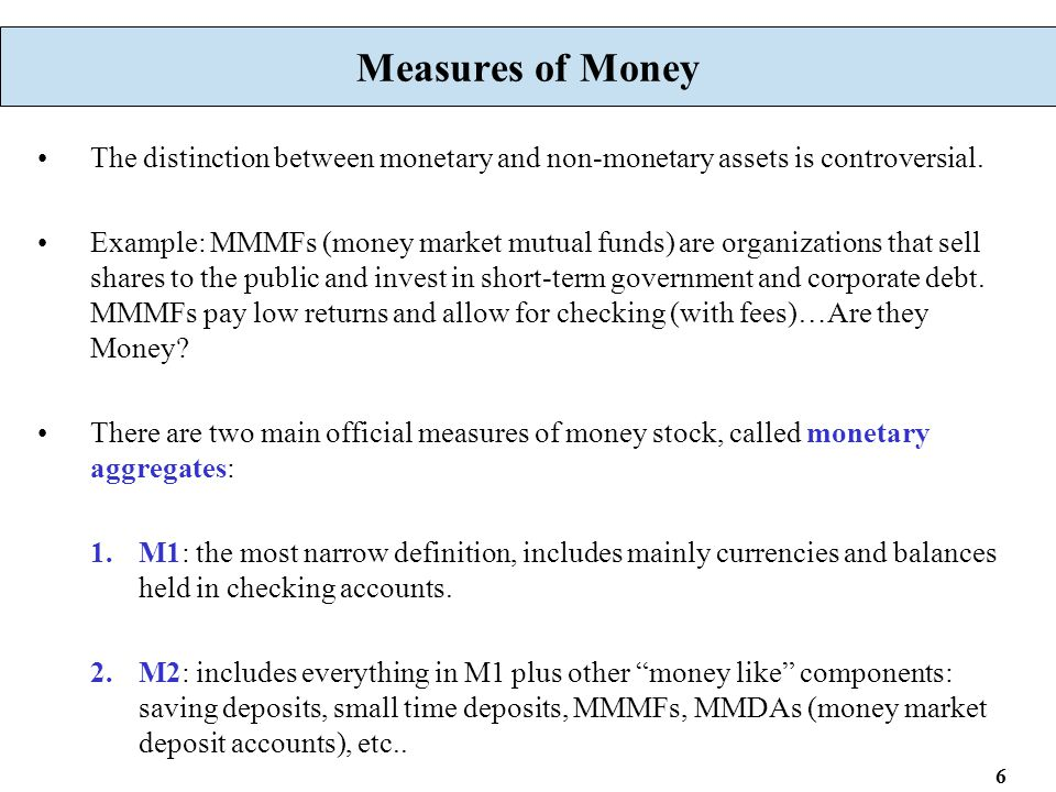 6 Measures of Money The distinction between monetary and non-monetary assets is controversial.