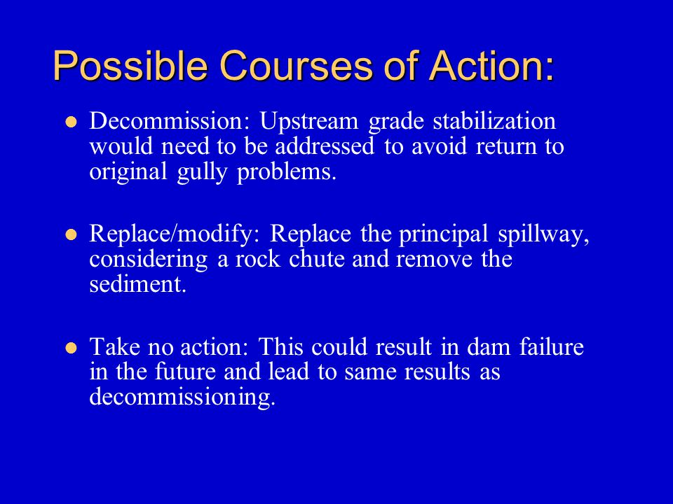 Possible Courses of Action: Decommission: Upstream grade stabilization would need to be addressed to avoid return to original gully problems. Replace/