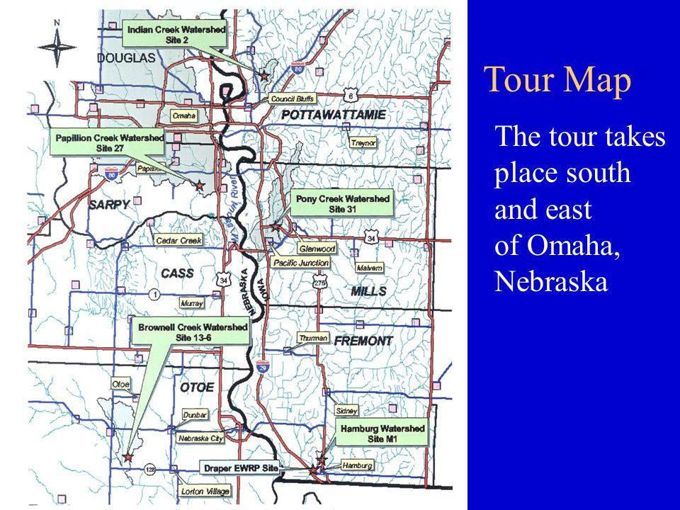 Tour Map The tour takes place south and east of Omaha, Nebraska