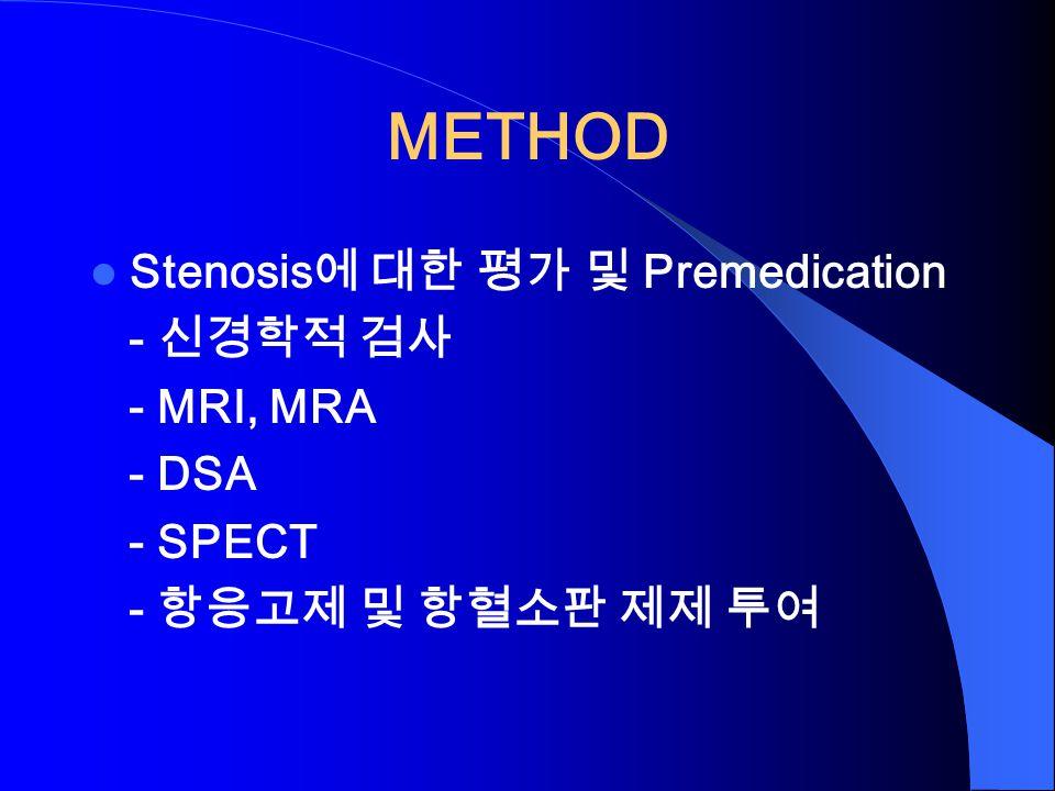 METHOD Stenosis 에 대한 평가 및 Premedication - 신경학적 검사 - MRI, MRA - DSA - SPECT - 항응고제 및 항혈소판 제제 투여