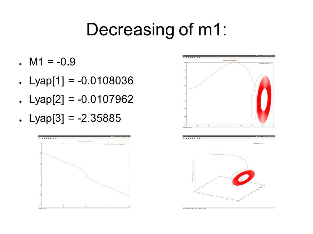 ● M1 = -0.9 ● Lyap[1] = -0.0108036 ● Lyap[2] = -0.0107962 ● Lyap[3] = -2.35885 Decreasing of m1: