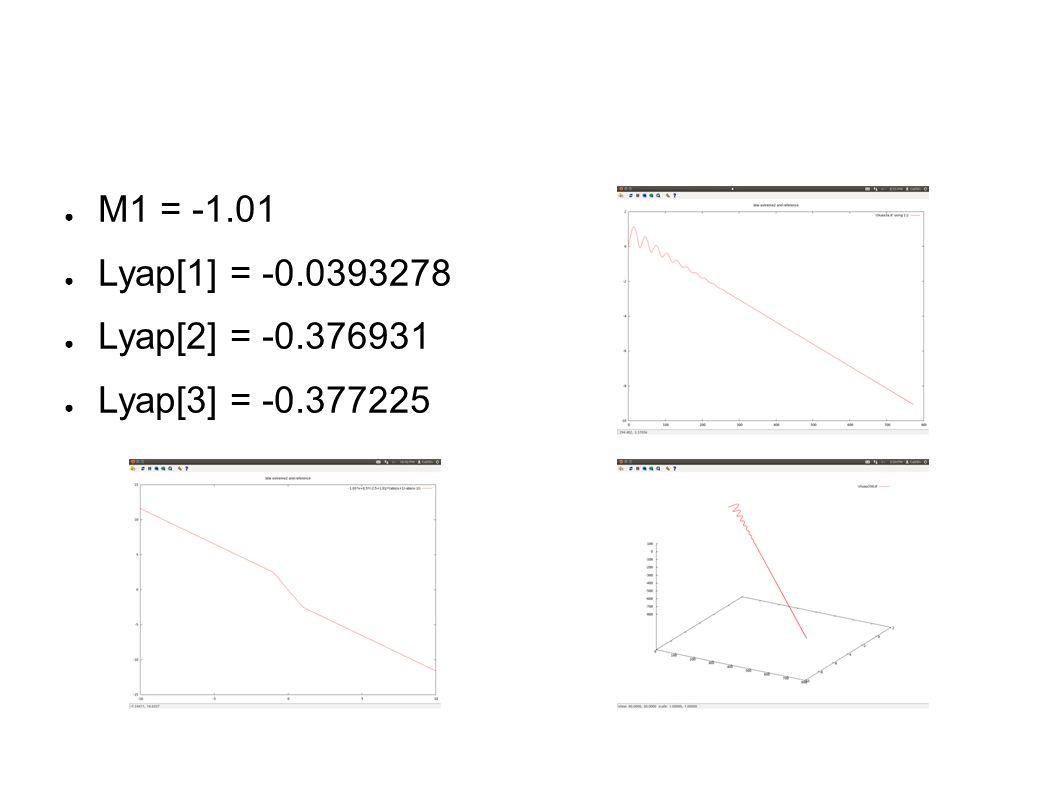 ● M1 = -1.01 ● Lyap[1] = -0.0393278 ● Lyap[2] = -0.376931 ● Lyap[3] = -0.377225