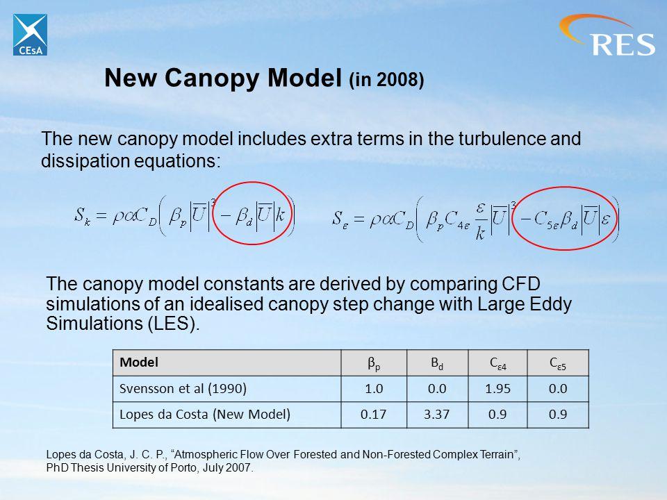 New Canopy Model (in 2008) Modelβpβp ΒdΒd C ε4 C ε5 Svensson et al (1990)1.00.01.950.0 Lopes da Costa (New Model)0.173.370.9 Lopes da Costa, J. C. P.,