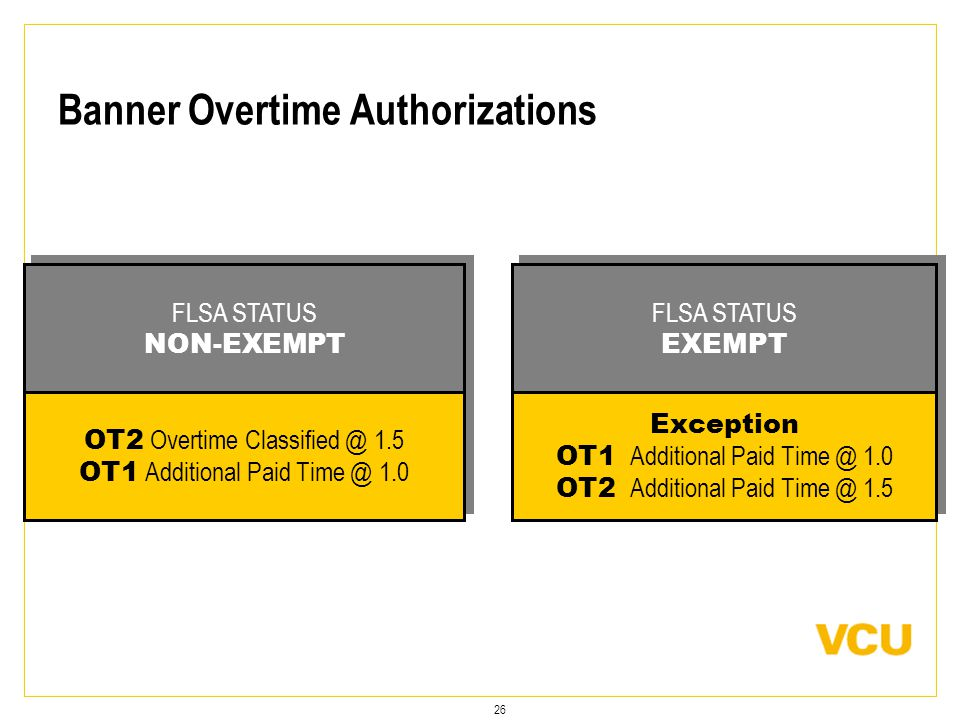 26 Banner Overtime Authorizations Exception OT1 Additional Paid Time @ 1.0 OT2 Additional Paid Time @ 1.5 Exception OT1 Additional Paid Time @ 1.0 OT2 Additional Paid Time @ 1.5 FLSA STATUS EXEMPT FLSA STATUS EXEMPT OT2 Overtime Classified @ 1.5 OT1 Additional Paid Time @ 1.0 OT2 Overtime Classified @ 1.5 OT1 Additional Paid Time @ 1.0 FLSA STATUS NON-EXEMPT FLSA STATUS NON-EXEMPT