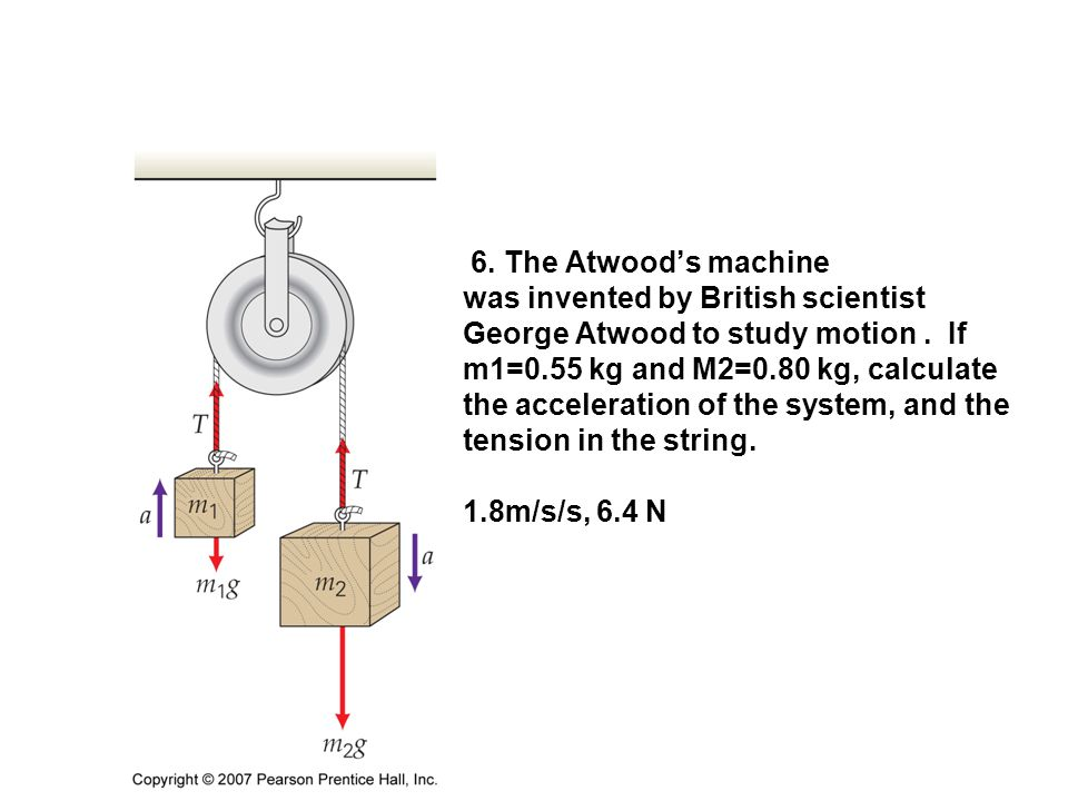 6. The Atwood's machine was invented by British scientist George Atwood to study motion. If m1=0.55 kg and M2=0.80 kg, calculate the acceleration of t