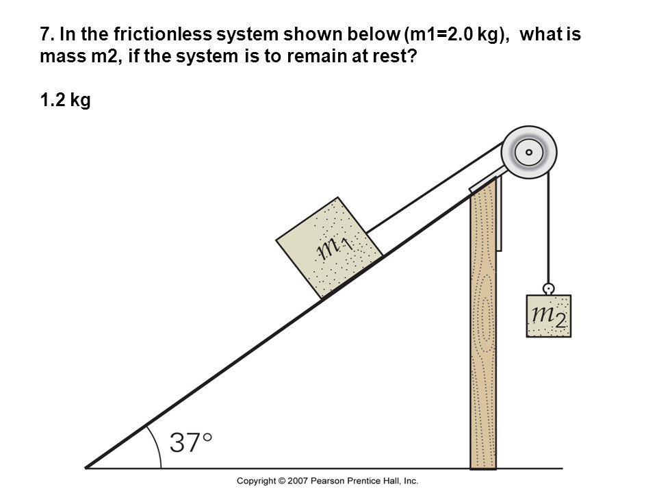 7. In the frictionless system shown below (m1=2.0 kg), what is mass m2, if the system is to remain at rest? 1.2 kg