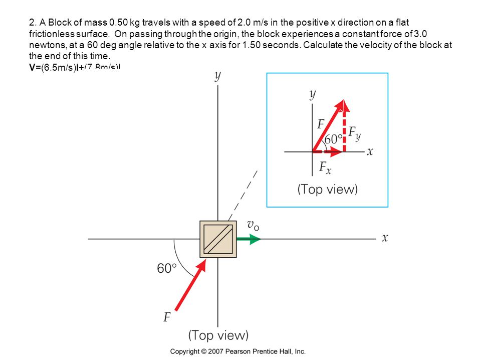 2. A Block of mass 0.50 kg travels with a speed of 2.0 m/s in the positive x direction on a flat frictionless surface. On passing through the origin,