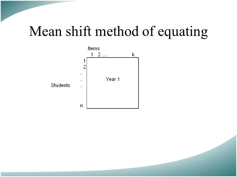 Mean shift method of equating