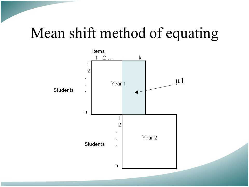 Mean shift method of equating 