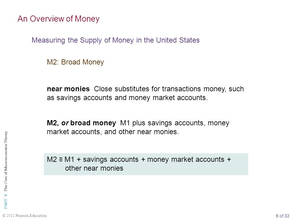 6 of 33 PART V The Core of Macroeconomic Theory © 2012 Pearson Education near monies Close substitutes for transactions money, such as savings accounts and money market accounts.
