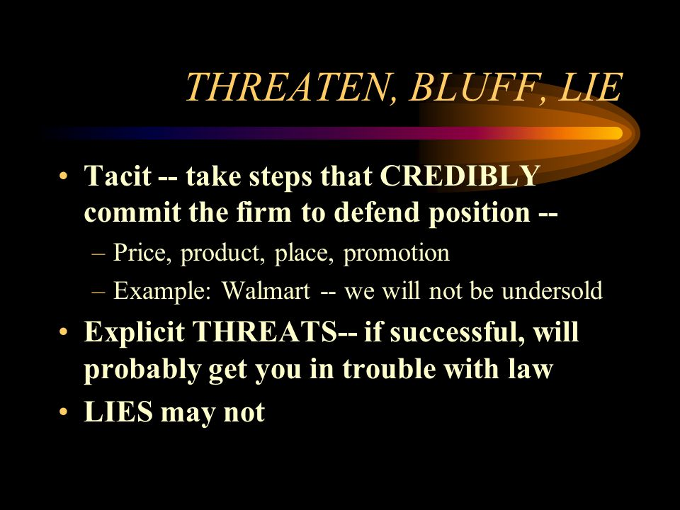 EXPLOIT YOUR STRENGTHS TO HANDICAP RIVALS ALLIANCES –Tacit example: GM –Explicit example: Wintel –Plus threat example: Microsoft –Government & Mafias KNOWLEDGE –Market example: LiviCo/Mannesman –Resource example: Shell, Exxon
