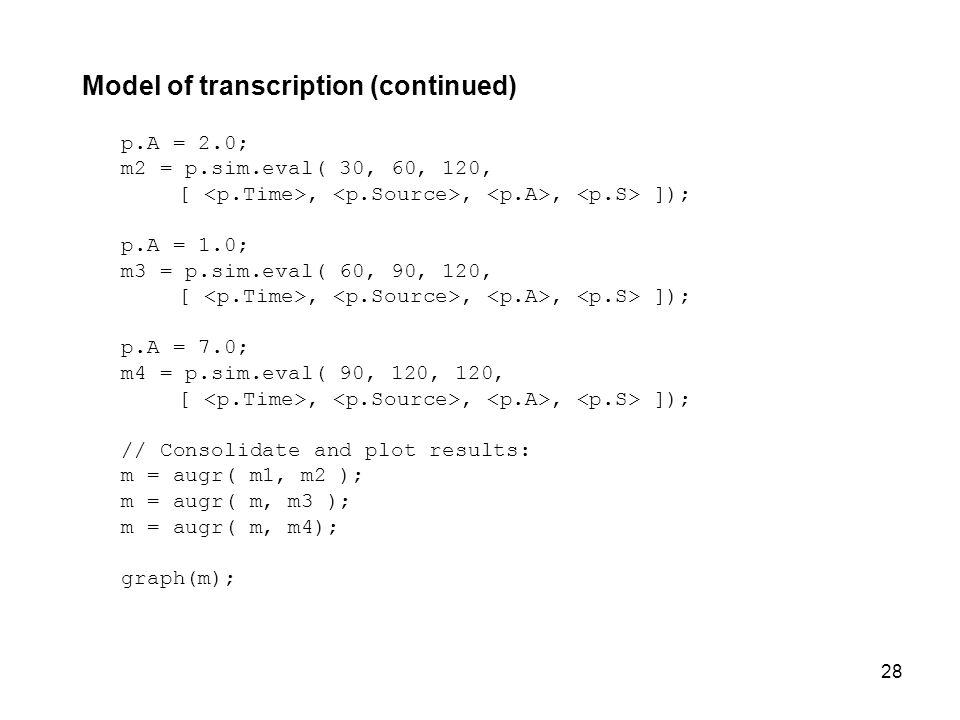 28 Model of transcription (continued) p.A = 2.0; m2 = p.sim.eval( 30, 60, 120, [,,, ]); p.A = 1.0; m3 = p.sim.eval( 60, 90, 120, [,,, ]); p.A = 7.0; m4 = p.sim.eval( 90, 120, 120, [,,, ]); // Consolidate and plot results: m = augr( m1, m2 ); m = augr( m, m3 ); m = augr( m, m4); graph(m);