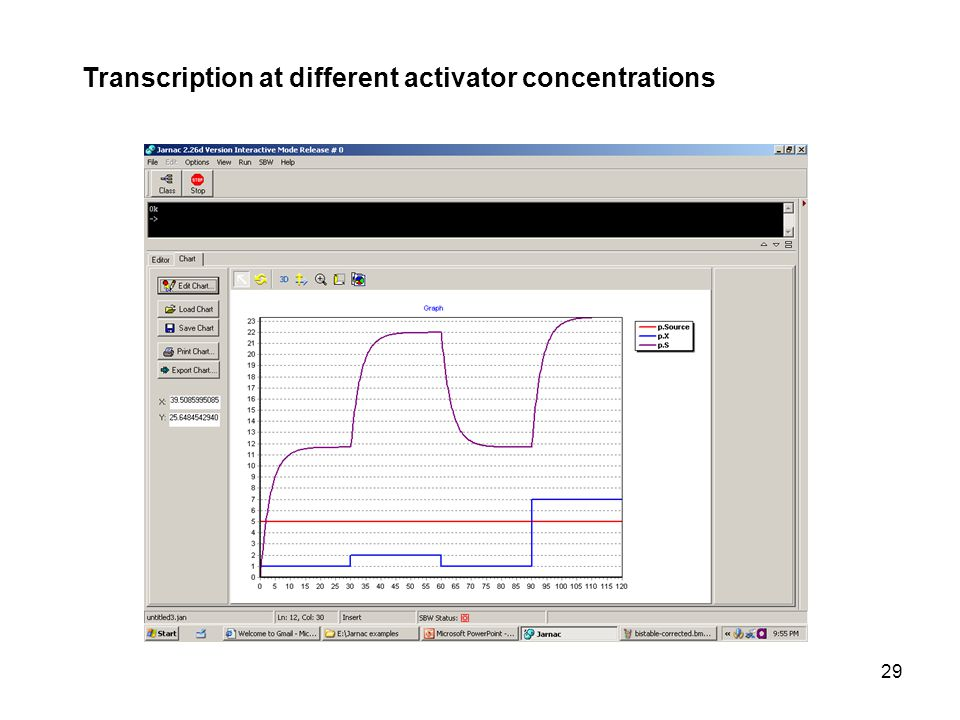29 Transcription at different activator concentrations