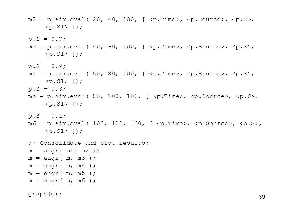39 m2 = p.sim.eval( 20, 40, 100, [,,, ]); p.S = 0.7; m3 = p.sim.eval( 40, 60, 100, [,,, ]); p.S = 0.9; m4 = p.sim.eval( 60, 80, 100, [,,, ]); p.S = 0.3; m5 = p.sim.eval( 80, 100, 100, [,,, ]); p.S = 0.1; m6 = p.sim.eval( 100, 120, 100, [,,, ]); // Consolidate and plot results: m = augr( m1, m2 ); m = augr( m, m3 ); m = augr( m, m4 ); m = augr( m, m5 ); m = augr( m, m6 ); graph(m);