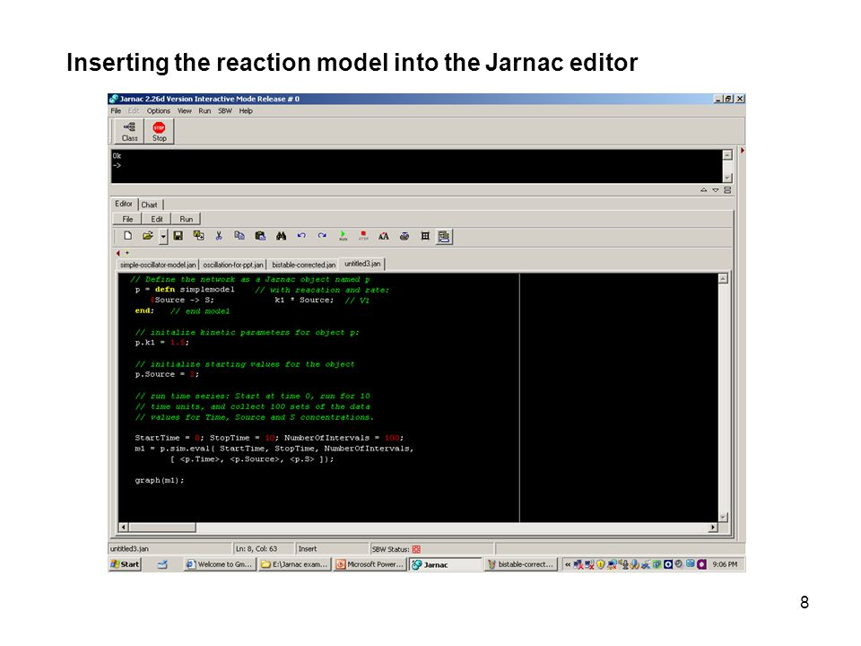 8 Inserting the reaction model into the Jarnac editor