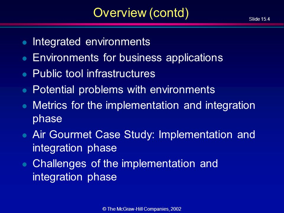 Slide 15.35 © The McGraw-Hill Companies, 2002 Potential Problems with Environments l No one environment is ideal for all organizations –Each has its strengths and weaknesses l Warning 1 –Choosing the wrong environment can be worse than no environment –Enforcing a wrong technique is counterproductive l Warning 2 –Shun environments below CMM level 3 –We cannot automate a nonexistent process –A CASE tool or CASE workbench is fine