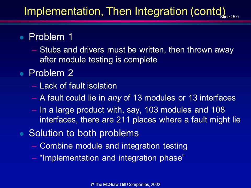 Slide 15.10 © The McGraw-Hill Companies, 2002 Top-down Implementation and Integration l If module m1 calls module m 2, then m1 is implemented and integrated before m2 l One possible top-down ordering is –a, b, c, d, e, f, g, h, i, j, k, l, m l Another possible top-down ordering is – a –[a]b, e, h –[a]c, d, f, i –[a, d]g, j, k, l, m