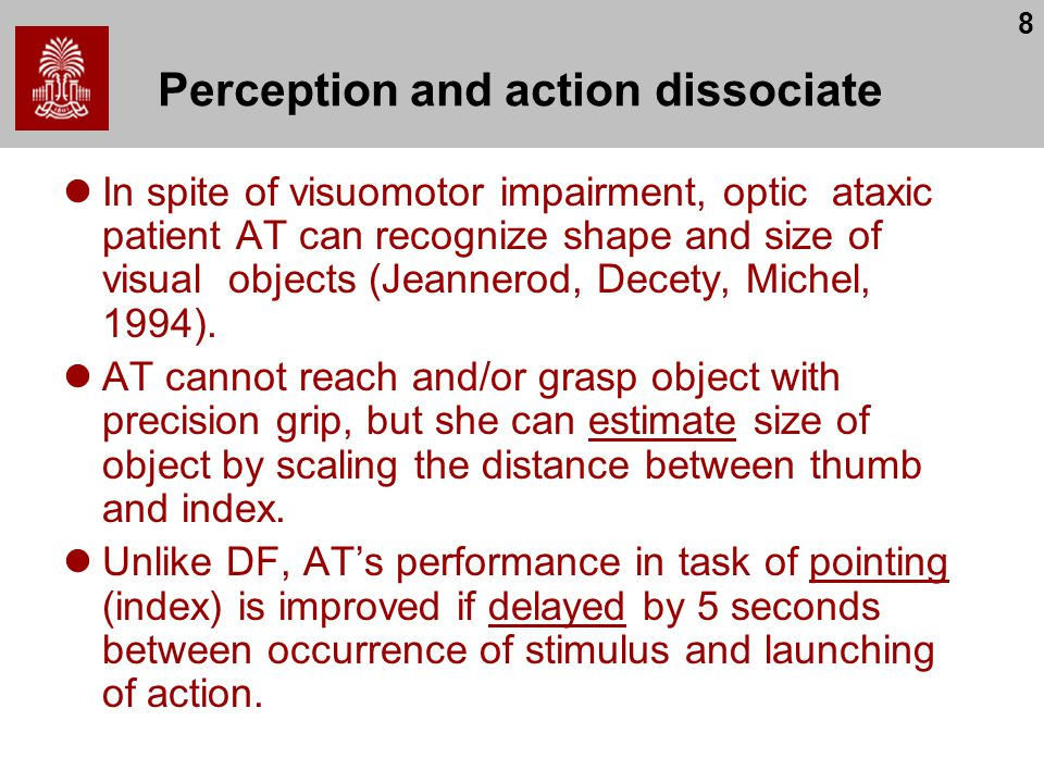 8 Perception and action dissociate In spite of visuomotor impairment, optic ataxic patient AT can recognize shape and size of visual objects (Jeannerod, Decety, Michel, 1994).