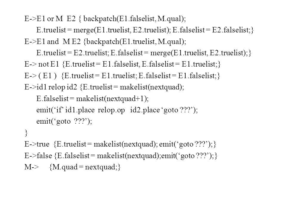 E->E1 or M E2 { backpatch(E1.falselist, M.qual); E.truelist = merge(E1.truelist, E2.truelist); E.falselist = E2.falselist;} E->E1 and M E2 {backpatch(E1.truelist, M.qual); E.truelist = E2.truelist; E.falselist = merge(E1.truelist, E2.truelist);} E-> not E1 {E.truelist = E1.falselist, E.falselist = E1.truelist;} E-> ( E1 ) {E.truelist = E1.truelist; E.falselist = E1.falselist;} E->id1 relop id2 {E.truelist = makelist(nextquad); E.falselist = makelist(nextquad+1); emit('if' id1.place relop.op id2.place 'goto '); emit('goto '); } E->true {E.truelist = makelist(nextquad); emit('goto ');} E->false {E.falselist = makelist(nextquad);emit('goto ');} M-> {M.quad = nextquad;}