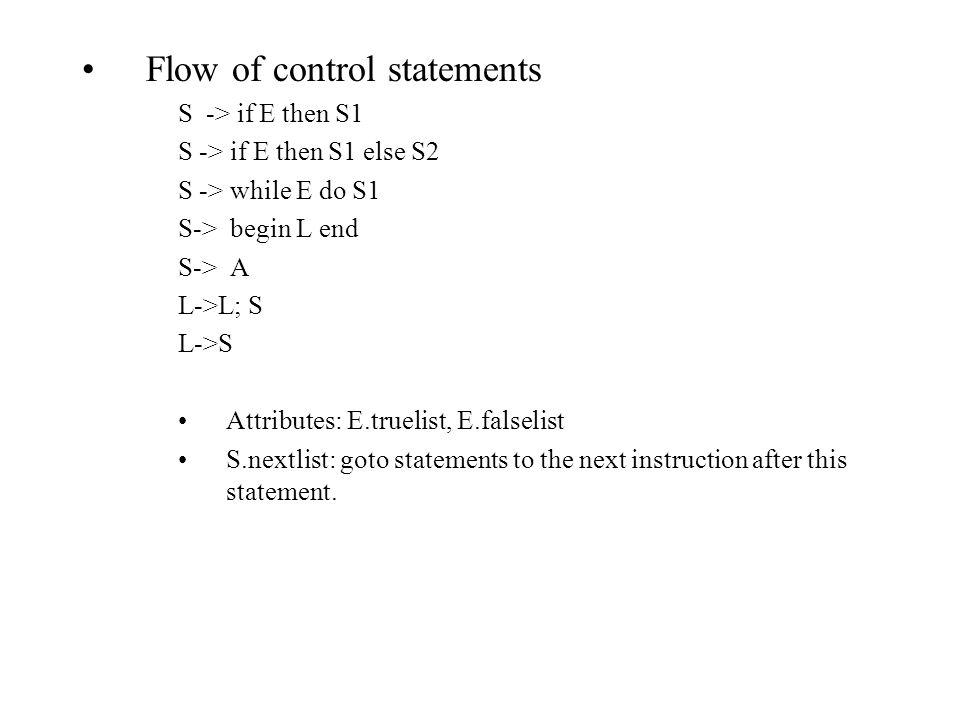 Flow of control statements S -> if E then S1 S -> if E then S1 else S2 S -> while E do S1 S-> begin L end S-> A L->L; S L->S Attributes: E.truelist, E