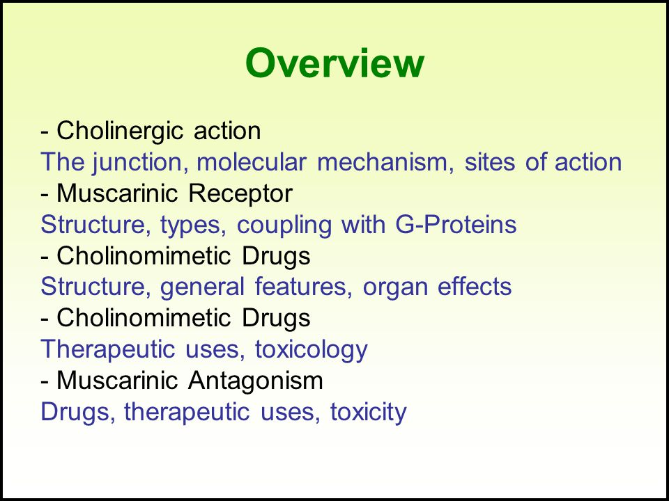 Overview - Cholinergic action The junction, molecular mechanism, sites of action - Muscarinic Receptor Structure, types, coupling with G-Proteins - Cholinomimetic Drugs Structure, general features, organ effects - Cholinomimetic Drugs Therapeutic uses, toxicology - Muscarinic Antagonism Drugs, therapeutic uses, toxicity