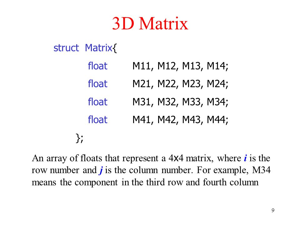 10 Matrix Properties Call Matrix.Identity to get an identity matrix.