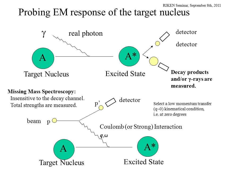 RIKEN Seminar, September 8th, 2011 p q,q, A A* p' Coulomb (or Strong) Interaction detector beam  A A* Excited State Target Nucleus real photon Probing EM response of the target nucleus Decay products and/or  -rays are measured.