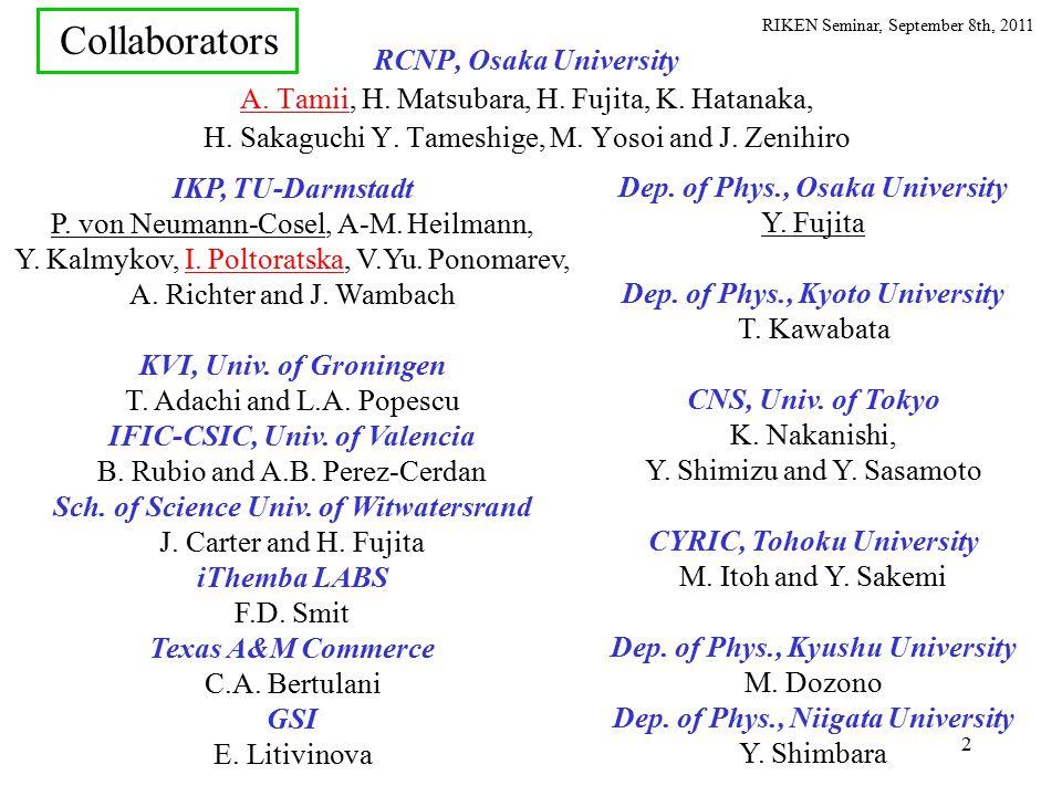 RIKEN Seminar, September 8th, 2011 SnSn SpSp ( ,  ') ( ,n) GR and Continuum (Main Strength) Discrete (Small Strength) Illustrative View of E1 Response Particle ( neutron ) separation energy (e,e'), (p,p') 0 PDR GDR g.s.