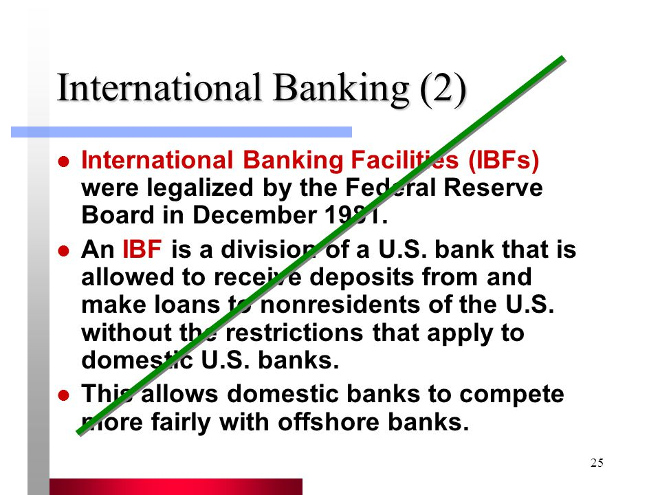 25 International Banking (2) International Banking Facilities (IBFs) were legalized by the Federal Reserve Board in December 1981.